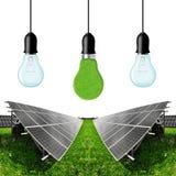 Solarenergieplatten mit Birnen Stockfoto