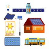 Solarenergievektorsatz Lizenzfreie Stockfotografie