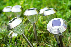Solargartenlichter lizenzfreie stockbilder