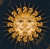 Solargesicht auf einem schwarzen Hintergrund Stockfoto
