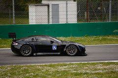 Solaris Motorsport Aston Martin Vantage V12 GT3 at Monza. Solaris Motorsport Team is testing his new Aston Martin Vantage V12 GT3. Max Mugelli and Francesco Sini Royalty Free Stock Photos