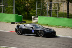 Solaris Motorsport Aston Martin Vantage V12 GT3 at Monza. Solaris Motorsport Team is testing his new Aston Martin Vantage V12 GT3. Max Mugelli and Francesco Sini Royalty Free Stock Image