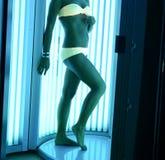At solarium. Beautiful girl closeup in swimsuit at solarium Stock Image