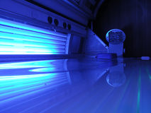 Solarium. Blue solarium ready for use Royalty Free Stock Images