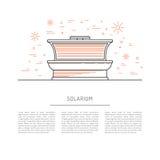 Solarium för bad för sol för vektorlägenhetdesign Arkivfoton
