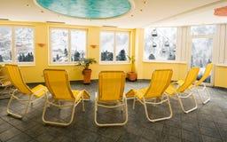 Solarium room in ski resort in Austrian Alps Stock Photo