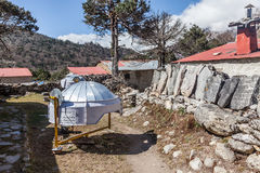 SolarWater Heater. Trekking above Namche Bazaar Everest Foothills Sagamatha National Park nepal Royalty Free Stock Image