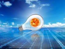 Solarzellenenergie-Stromnetzsystem im Ideenkonzepthintergrund Stockfoto