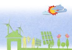 Solarzellenstation aufbereiteter Papierfertigkeitsteuerknüppel Stockbilder