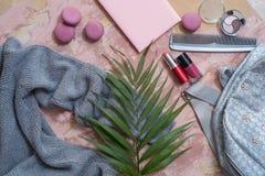 solateCollection di estate su un fondo rosa vesta, borsa di colore del metallo, pettine, maccheroni e cosmetico-rossetto e poli g Fotografia Stock Libera da Diritti