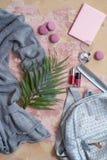 solateCollection di estate su un fondo rosa vesta, borsa di colore del metallo, pettine, maccheroni e cosmetico-rossetto e poli g Immagini Stock