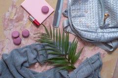 solateCollection di estate su un fondo rosa vesta, borsa di colore del metallo, pettine, maccheroni e cosmetico-rossetto e poli g Fotografia Stock