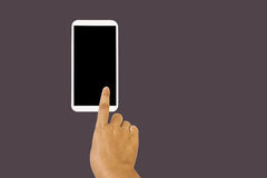 solated hand with finger press on big blank screen smartphone Royalty Free Stock Photography