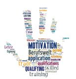 Solated Word Cloud - Application and professional life. Isolated Word Cloud - concepts about application and career Stock Photo