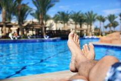 Solbada av simbassängen Arkivbilder