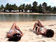 solbada för bikinidamtoalett Royaltyfri Fotografi