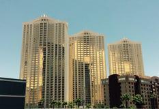 Solbelysta byggnader Las Vegas Nevada Arkivbild