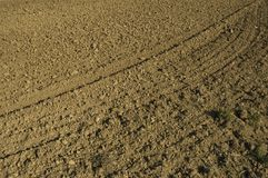 Solchi dell'aratro sul campo Immagine Stock