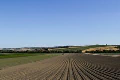 Solchi in un campo arato per i raccolti di piantatura in primavera in California Vista orizzontale nella prospettiva fotografia stock libera da diritti