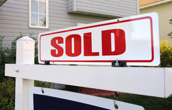 Sold!. A real estate sign marked as sold royalty free stock photo