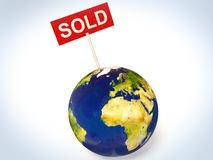 Sold. Sign in earth isolated background Royalty Free Stock Photo