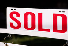 Sold. A red letter sold sign royalty free stock photo