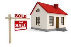 Sold. Real estate with sold sign vector illustration