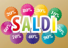 Sold. Illustration of sticker sale with percentage in italian language Stock Photography
