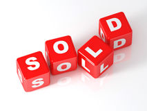 Sold 3d cube Royalty Free Stock Images