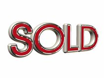 Sold. 3d illustration of the sold simbol Royalty Free Stock Photos