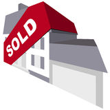 Sold. Concept of sold house with banner Royalty Free Stock Photos
