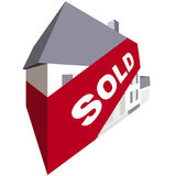Sold. Concept of sold house with banner Royalty Free Stock Photo