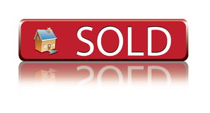 SOLD. Blue Red House sold sign stock illustration