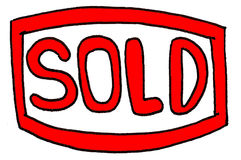 Sold. Red sold sign. hand-drawn Royalty Free Stock Image