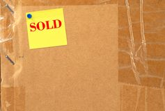 Sold box. Box with sold note on it stock photography