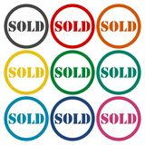 Sold circle icons set. Vector icon Royalty Free Stock Images