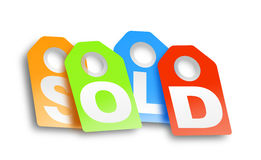 Sold. This is a digital drawing of 4 labels spelling the word sold Royalty Free Stock Photos