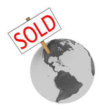 Sold Earth. Sold sign on planet Earth isolated on white background. Elements of this image furnished by NASA Stock Photos
