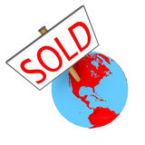 Sold Earth. Sold sign on planet Earth isolated on white background. Elements of this image furnished by NASA Royalty Free Stock Photo