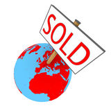 Sold Earth. Sold sign on planet Earth isolated on white background. Elements of this image furnished by NASA Stock Photography