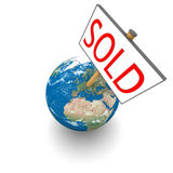 Sold Earth. Sold sign on planet Earth isolated on white background. Elements of this image furnished by NASA Stock Photo