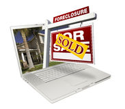 Sold Foreclosure Home for Sale Real Estate Sign & stock images