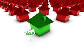 Sold - Green with Red Stock Image