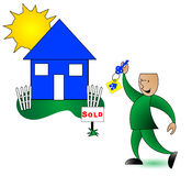 Sold Home and Owner. Sold home with owner holding key stock illustration