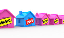 Sold house. Sold blue house isolated on white background