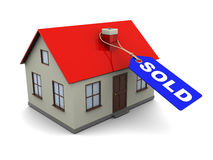Sold house. Abstract 3d illustration of house with blue tag with 'sold' caption Stock Image