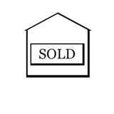 Sold house. Black sold house. Flat design.  Vector Illustration Royalty Free Stock Photos