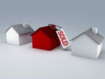 Sold house 3d Stock Photos