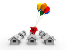 Sold House. 3D render image representing one sold house taking off with color balloons Stock Image