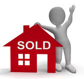 Sold House Means Successful Offer On Real Estate Royalty Free Stock Images